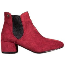 Ideal Shoes Sztyblety Z Brokatem czerwone