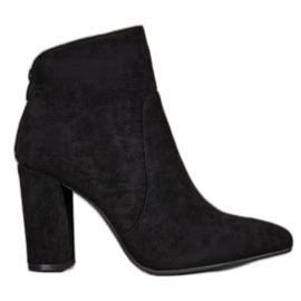 Ideal Shoes Klasyczne Botki Na Słupku czarne