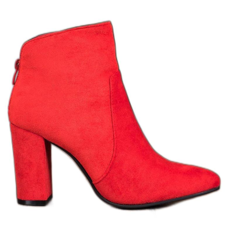 Ideal Shoes Klasyczne Botki Na Słupku czerwone