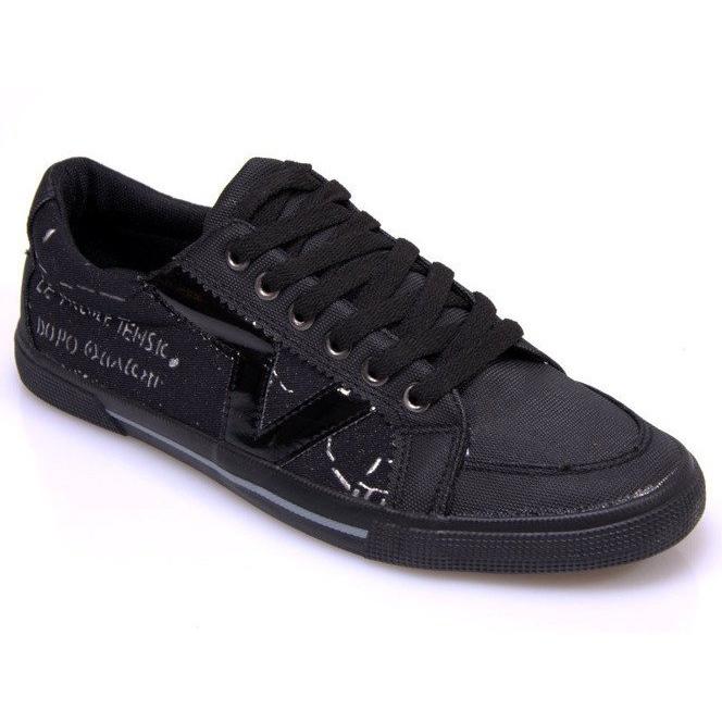 Materiałowe Tenisówki A961 Czarny czarne