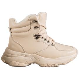Ideal Shoes Sneakrsy Z Eko Skóry brązowe