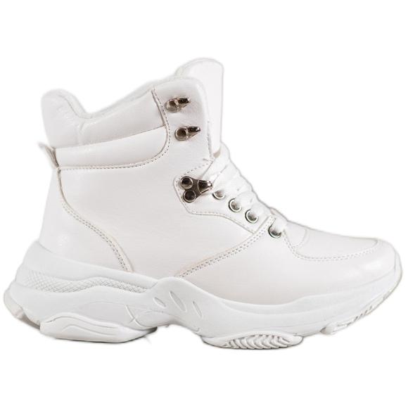 Ideal Shoes Sneakersy Z Eko Skóry białe