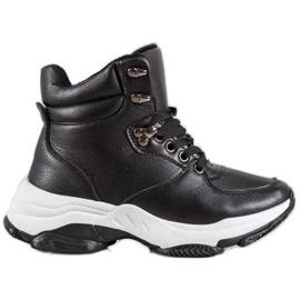 Ideal Shoes Sneakersy Z Eko Skóry czarne