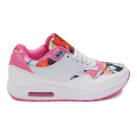 Buty Sportowe Sneakersy Trampki Neon R-50 Biały białe wielokolorowe