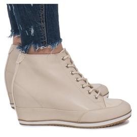 Beżowe Sneakersy Na Koturnie z Suwakiem Capucine brązowe