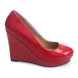 Lakierowane Czółenka Na Koturnie 2011-23 Czerwony czerwone