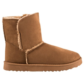 Lucky Shoes Camelowe Śniegowce brązowe