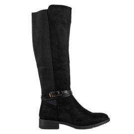 Ideal Shoes Zamszowe Oficerki czarne