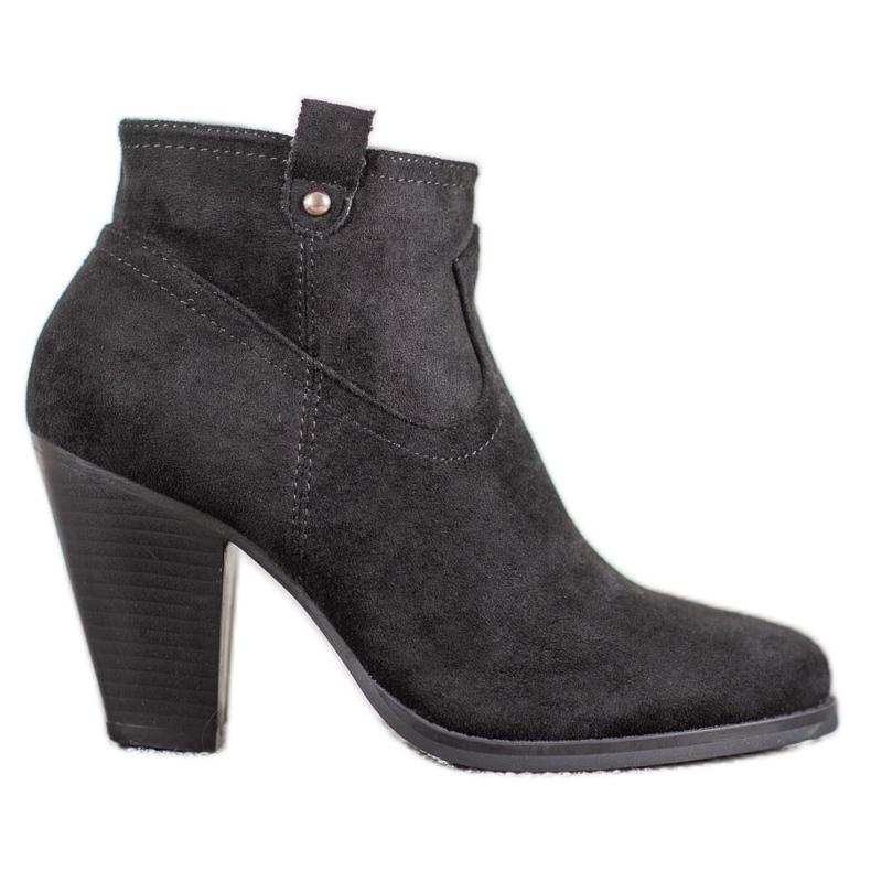 Ideal Shoes Casualowe Czarne Botki