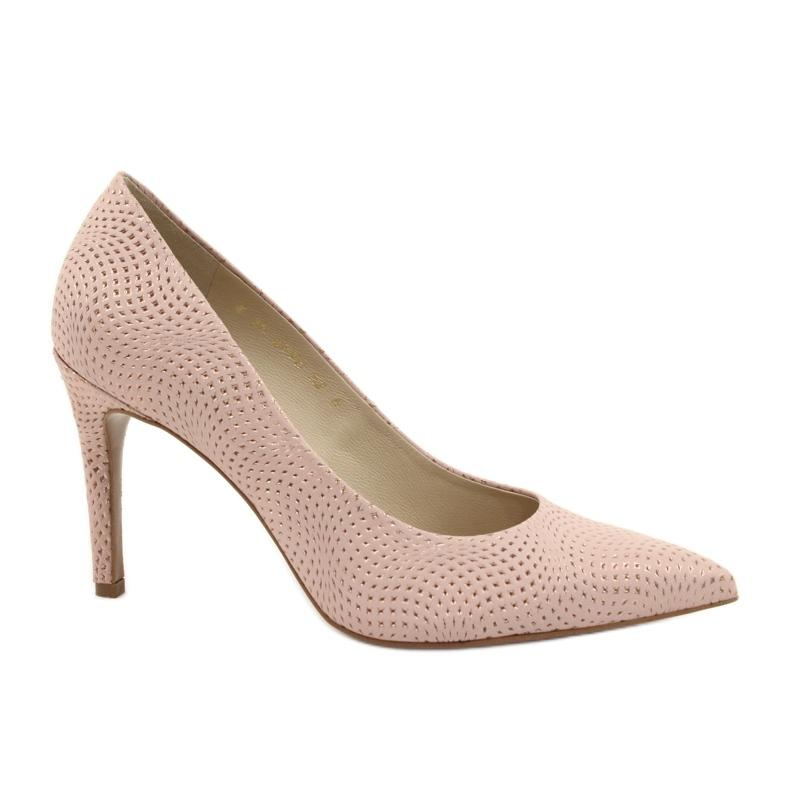 Czółenka buty damskie skórzane Anis 4716 różowe