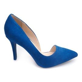 Zamszowe Szpilki 4006 Niebieski niebieskie