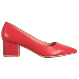 Ideal Shoes Stylowe Czerwone Czółenka