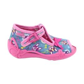 Befado różowe obuwie dziecięce 213P113 niebieskie