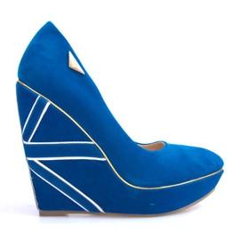 Zamszowe Czółenka Na Koturnie 518918 Niebieski niebieskie