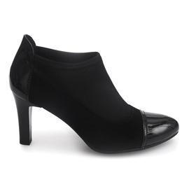 Eleganckie Botki Na Słupku 8367 Czarny czarne