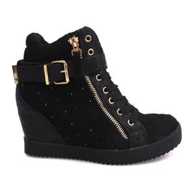 Sneakersy Na Koturnie 6227-Y Czarny czarne