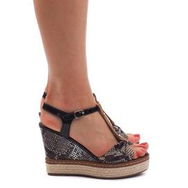 Sandały Na Koturnie Espadryle FY8286 Czarny czarne