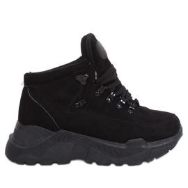 Buty sportowe wysoka podeszwa czarne B0014-SP Black