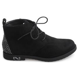 Wiązane Botki Z Cekinami H543 Czarny czarne