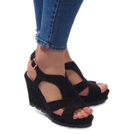 Sandały Na Koturnie K63 Czarny czarne