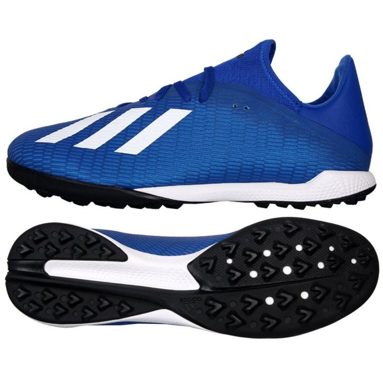 Buty piłkarskie adidas X 19.3 Tf M EG7155 niebieskie niebieskie