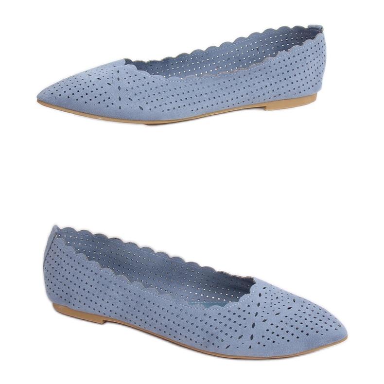 Balerinki ażurowe niebieskie NK18P Blue