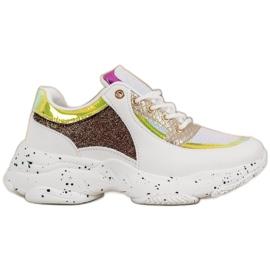 SHELOVET Sneakersy Z Cekinami Na Platformie