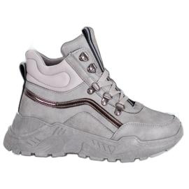 Queentina Ocieplane Sneakersy szare