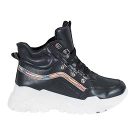 Ideal Shoes Botki Fashion czarne