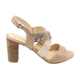 Caprice sandały damskie 28312 beżowy złoty