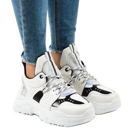 Białe sneakersy sportowe K-505 czarne
