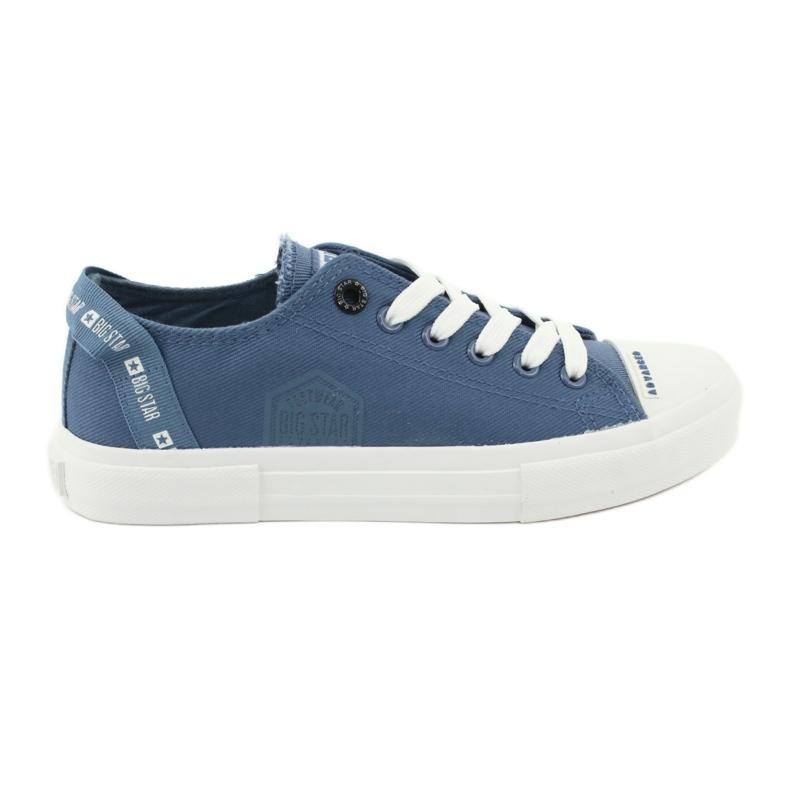 Big Star Trampki wiązane jeans FF274211 białe niebieskie
