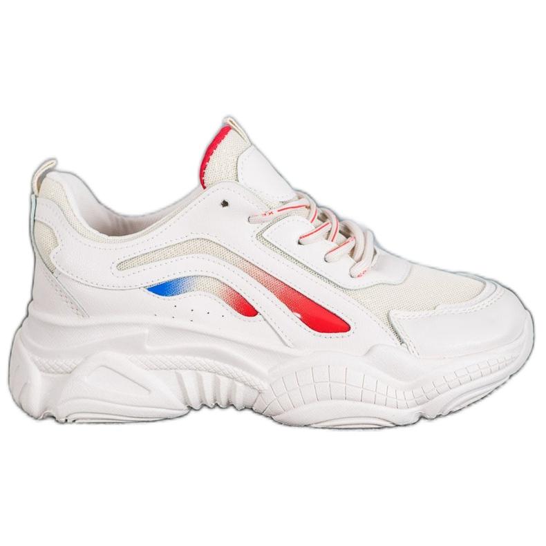 SHELOVET Modne Sneakersy Na Platformie białe