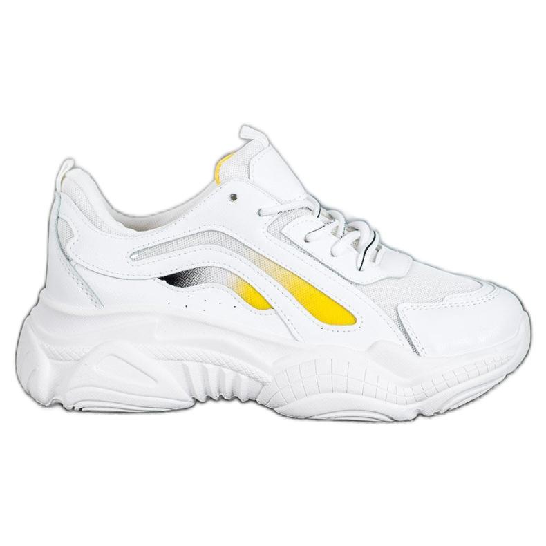 SHELOVET Modne Sneakersy Na Platformie białe żółte