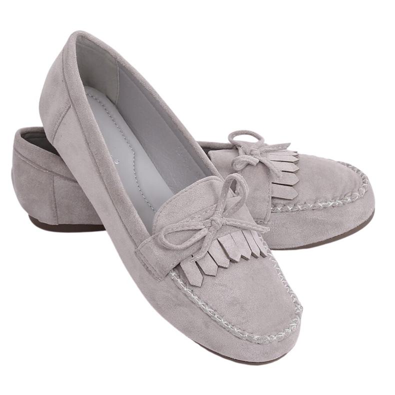 Mokasyny damskie klasyczne szare 77-202 Grey