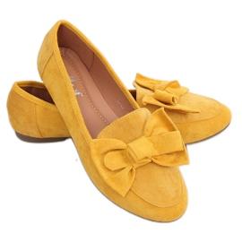 Mokasyny z kokardą miodowe B2028 Yellow żółte