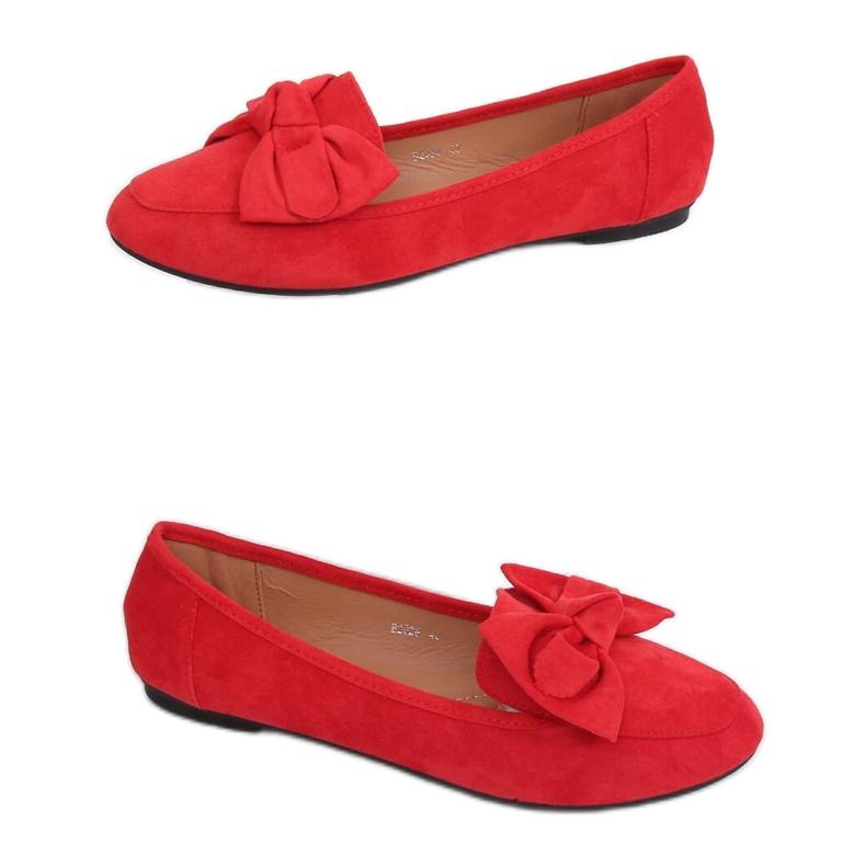 Mokasyny z kokardą czerwone B2028 Red