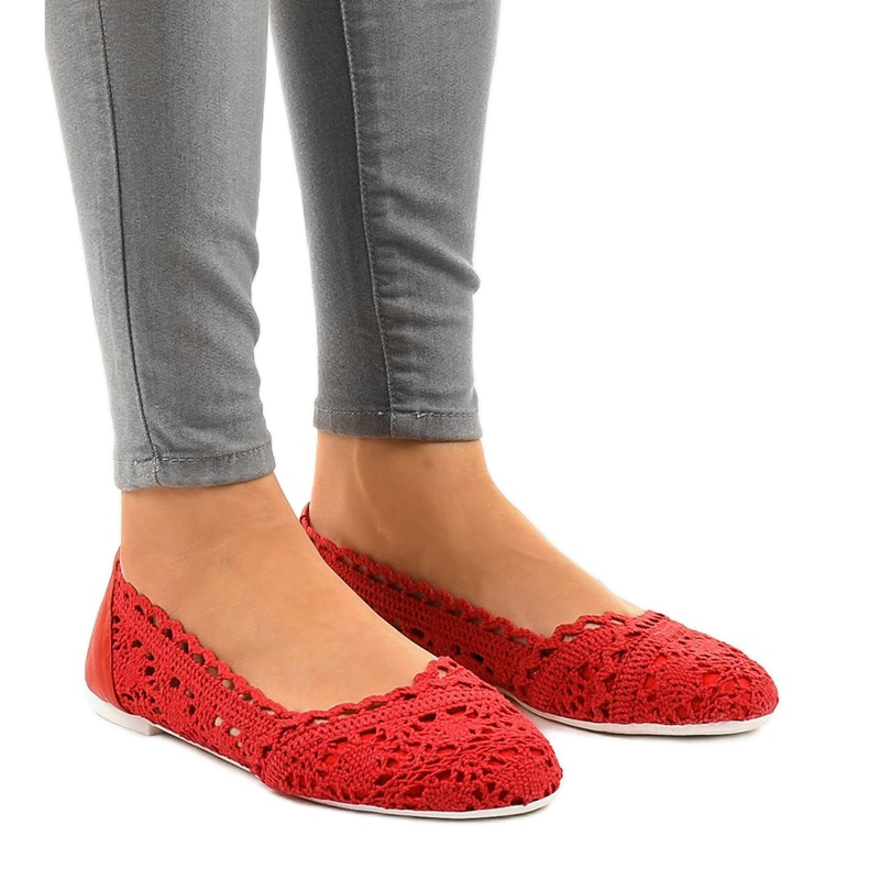 Czerwone ażurowe balerinki 4701