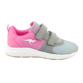 KangaROOS buty sportowe na rzepy 18506 grey/neon pink różowe szare