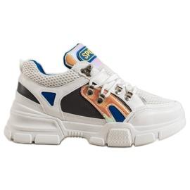 Bella Paris Sneakersy Z Siateczką Fashion białe wielokolorowe