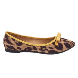 Leopard mokasyny balerinki HH17 brązowe