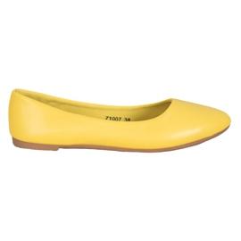 SHELOVET Klasyczne Baleriny Z Eko Skóry żółte