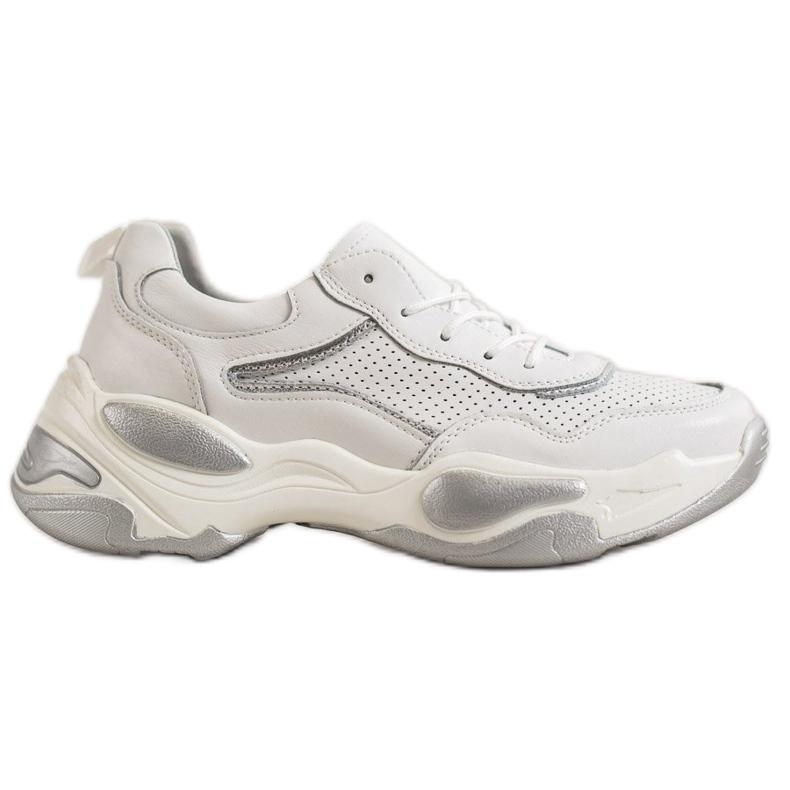 Goodin Skórzane Sneakersy białe wielokolorowe