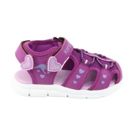 Sandałki dziewczęce serduszka Kangaroos 02035 fioletowe różowe szare