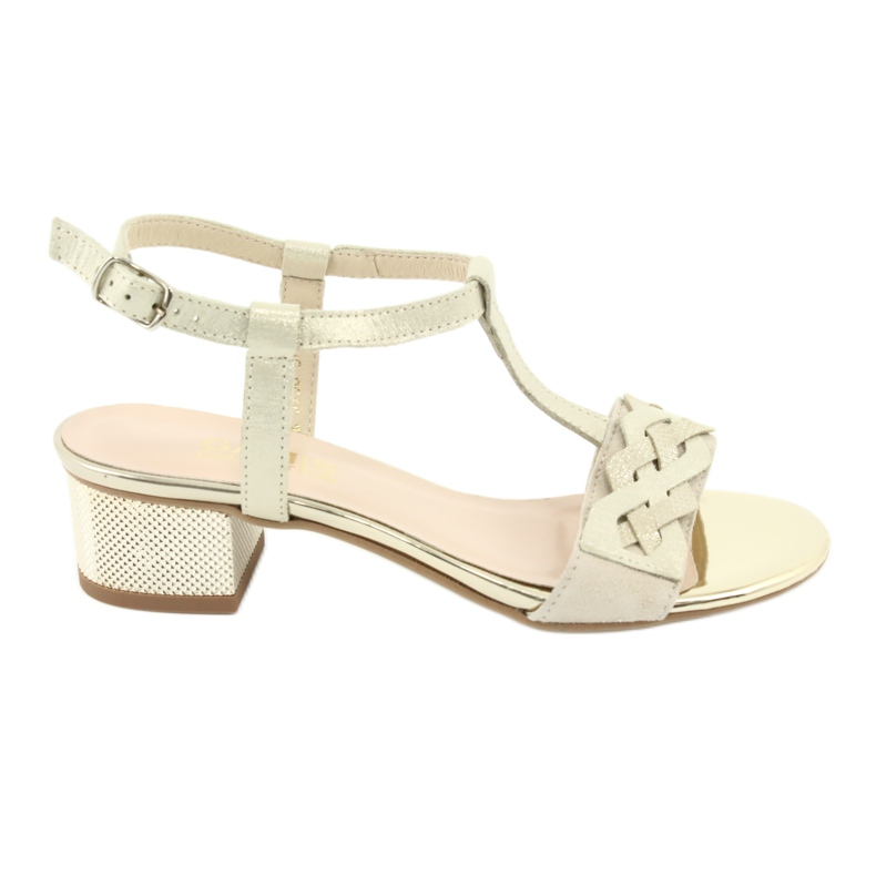 Sandały damskie Gamis 3936 beż/złoty beżowy