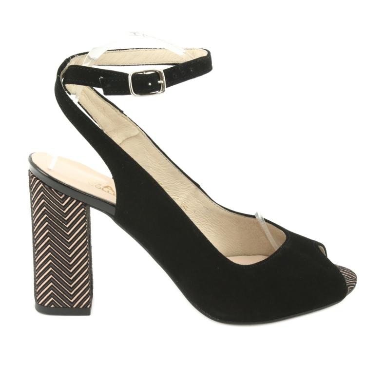 Sandały zamszowe na słupku Gamis czarne żółte