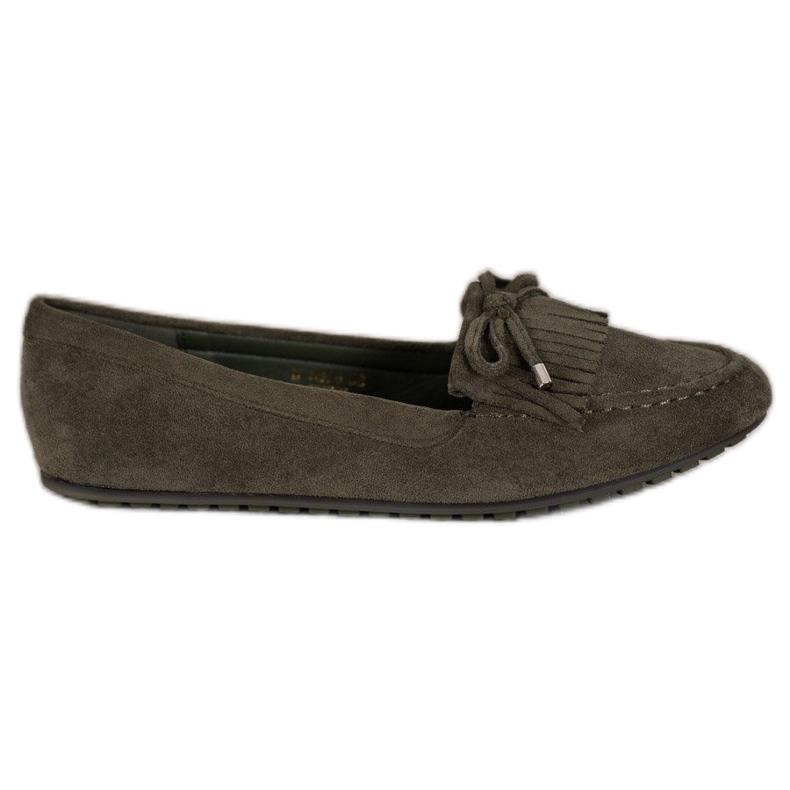 Ideal Shoes Zamszowe Buty Z Frędzlami zielone