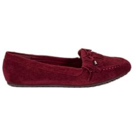 Ideal Shoes Zamszowe Buty Z Frędzlami czerwone