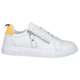 SHELOVET Sportowe Buty Z Ozdobnym Suwakiem białe