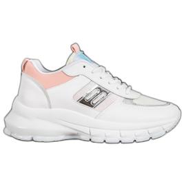 SHELOVET Modne Sneakersy Z Eko Skóry białe wielokolorowe